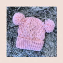 Girls Pink Knitted Cable Pom Pom Hat